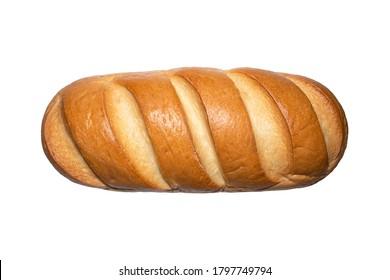 Sliced loaf on a white background.Sliced loaf with a Golden crust.