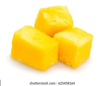 sliced mango chunks isolated