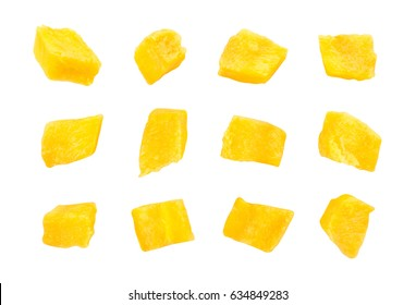 sliced mango chunks isolated