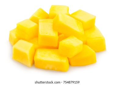 sliced mango chunks path isolated