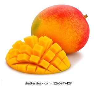 sliced mango path isolated
