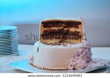 Sliced Modern Cascade Wedding Cake Chocolate Stock Photo Edit Now