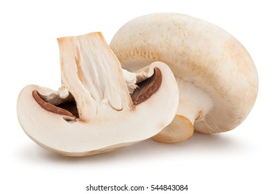 sliced mushroom isolated