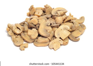 sliced mushrooms on a white background