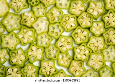 Sliced okra pieces from above close up