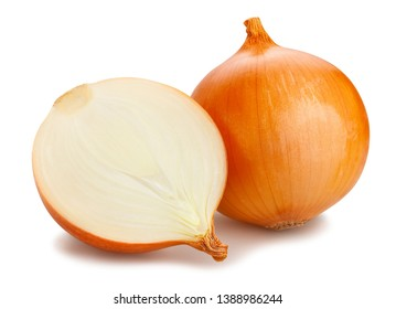 sliced onions path isolated on white
