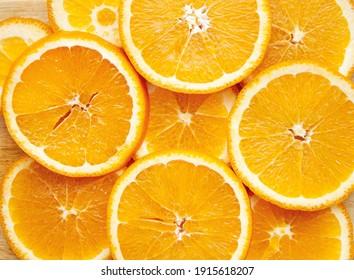 Sliced orange, background, top view