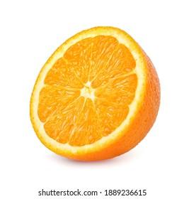 Sliced of orange fruit isolated on white background, slice orange fruit