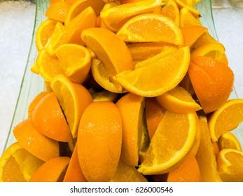 Sliced orange in tray