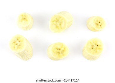 sliced peeled ripe banana isolated on white background