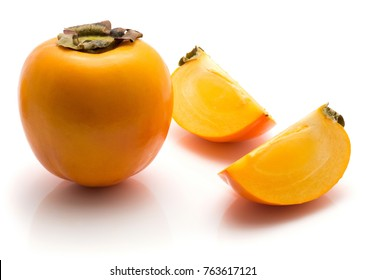 Sliced persimmon Kaki isolated on white background one whole two slices quarters
