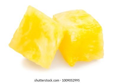 sliced pineapple chunks path isolated