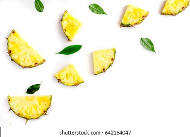 sliced pineapple in exotic summer fruit design white background top view mock-up
