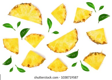 Sliced pineapple with green leaves isolated on white background. Top view. Flat lay pattern