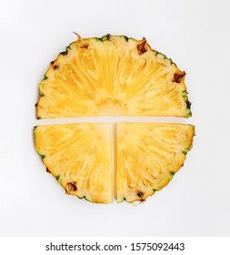 Sliced pineapple  isolated on white background . Top view, - image