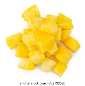 Sliced Pineapple isolated on white background, selective focus, close-up shot