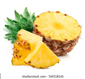 Sliced pineapple over white background