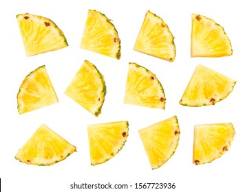sliced pineapple path isolated on white