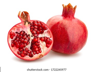 sliced pomegranate path isolated on white