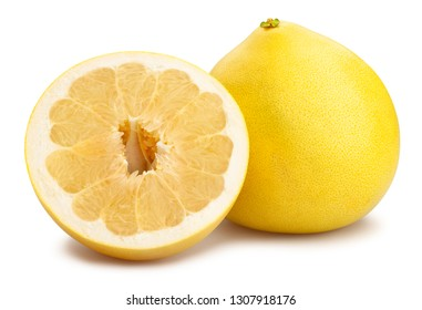 sliced pomelo path isolated