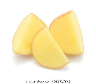 Sliced potatoes isolated on white background