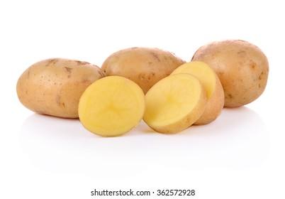 Sliced potatoes on white background.