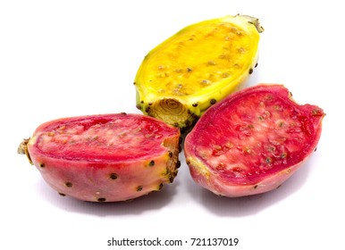 Sliced prickly pear, one yellow green and two pink halves of opuntia, isolated on white background