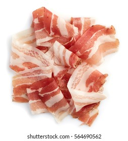 Sliced prosciutto or parma ham isolated on white background. From top view