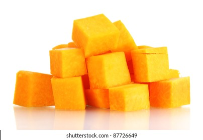 sliced pumpkin isolated on white