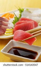 Sliced raw bigeye tuna