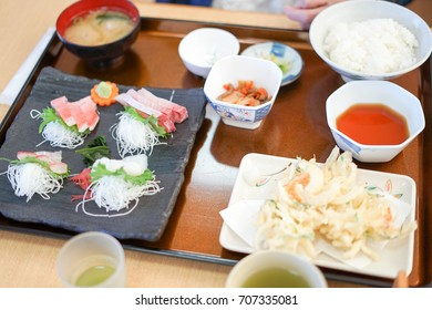 sliced raw fish lunch set