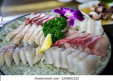 Sliced Raw Fish which is called Saengseon-hoe, Korean Food