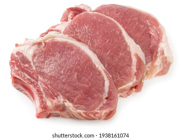 sliced raw pork meat isolated on white background. Clipping path and full depth of field