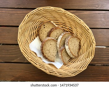 Sliced read in a wooden basket high angle view