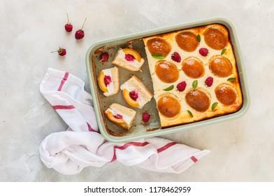 Sliced Rectangular Quark, Apricot and Raspberry Cake