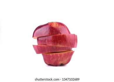 Sliced Red Apple on white