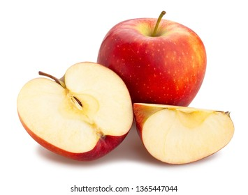 sliced red apples path isolated