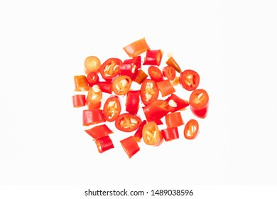 Sliced red chillies isolated on white background