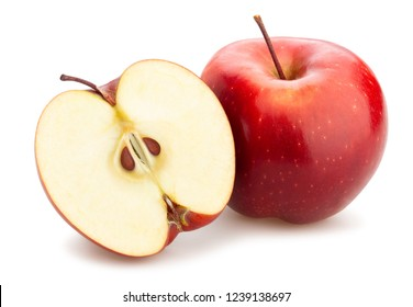 sliced red delicious apple path isolated