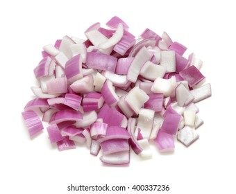 Sliced Red Onion Isolated On White Background
