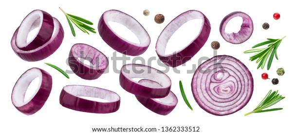 Sliced red onion rings isolated on white background with clipping path, with herbs and spices, collection