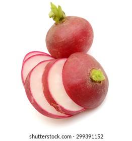 Sliced red radish isolated on white background