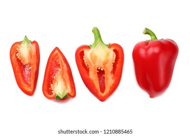 sliced red sweet bell pepper isolated on white background. top view