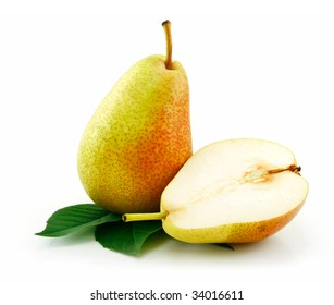 Sliced Ripe Green Pear Isolated on White Background