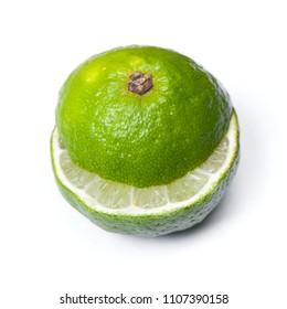 Sliced ripe lime isolated on white backround