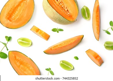 Sliced ripe melon on white background