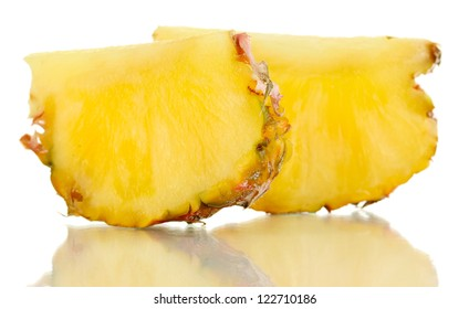 Sliced ripe pineapple isolated on white