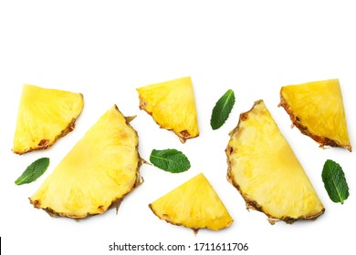 Sliced ripe pineapple isolated on white background. healthy background. top view