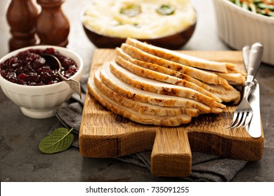 Sliced roasted turkey breast for Thanksgiving or Christmas dinner
