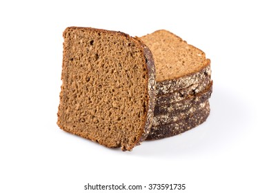sliced of rye bread, isolated on white background
